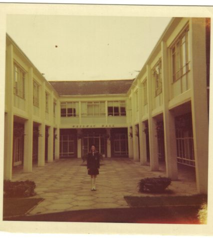 Diana in front of Marymount on her first day
